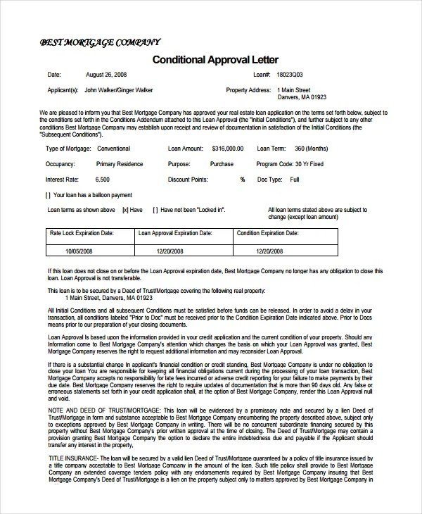 Loan Pre Approval Letter Example | Docoments Ojazlink