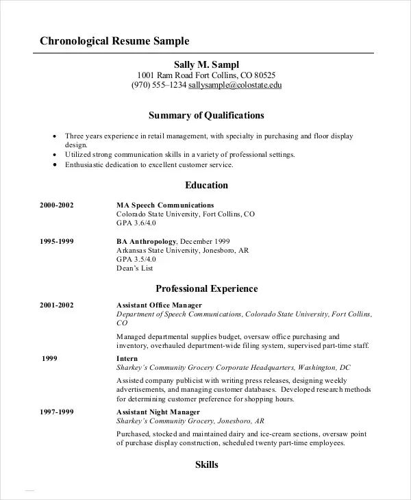 order of resumes