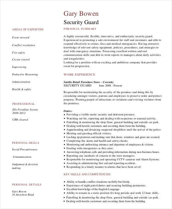 security guard job sample resume
