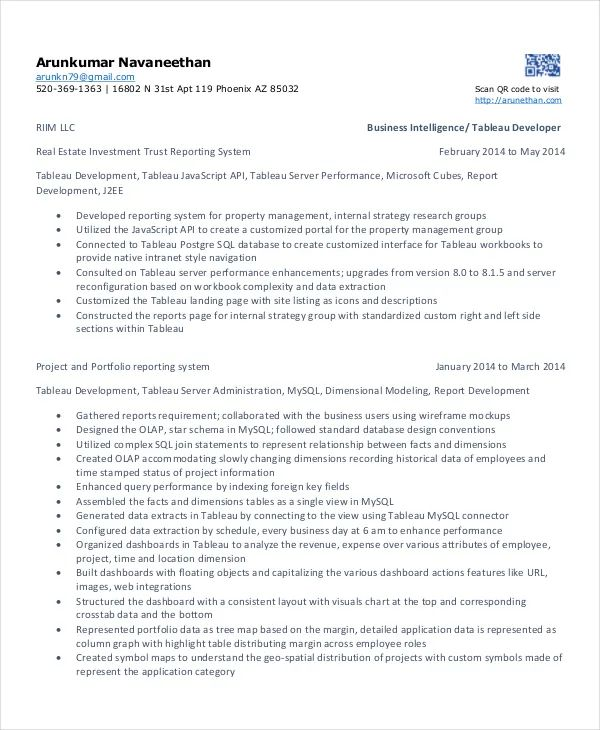 resume example projects