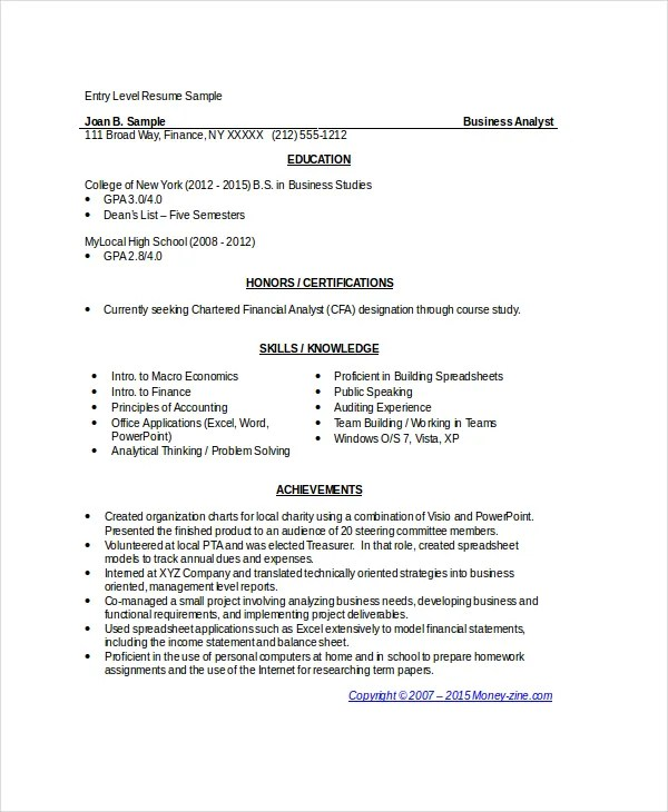 Entry Level Business Analyst Resume Examples  Examples Of Resumes