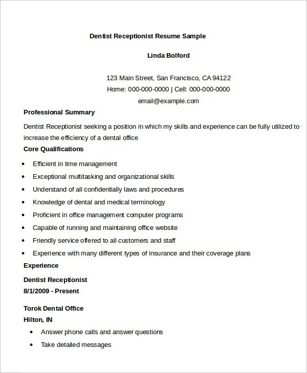 Resume Format For Receptionist Unforgettable Receptionist Resume