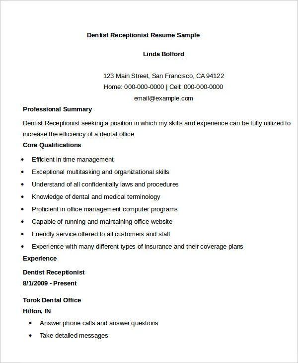 sample resume receptionist front desk