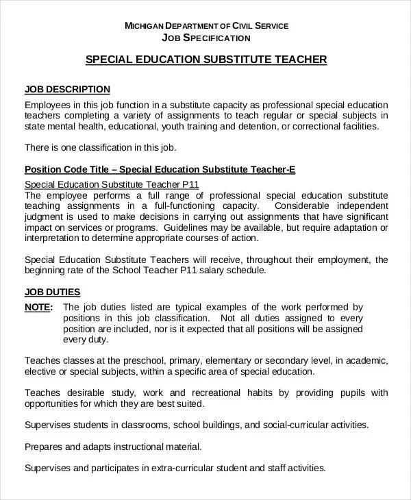Substitute Teacher Resume Example 5 Free Word PDF Documents