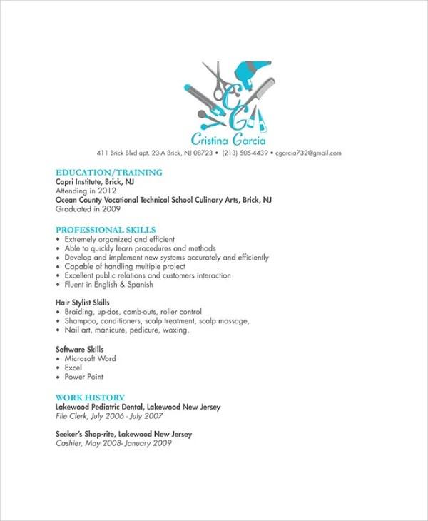 hairstylist resume samples
