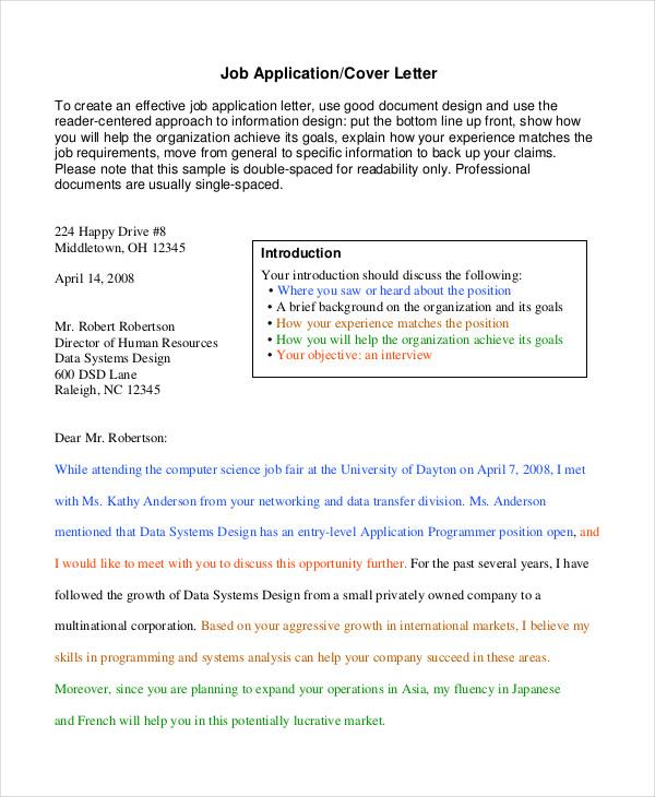 Generic Job Application 8 Free Word PDF Documents