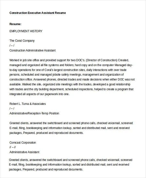 best resume for administrative assistant