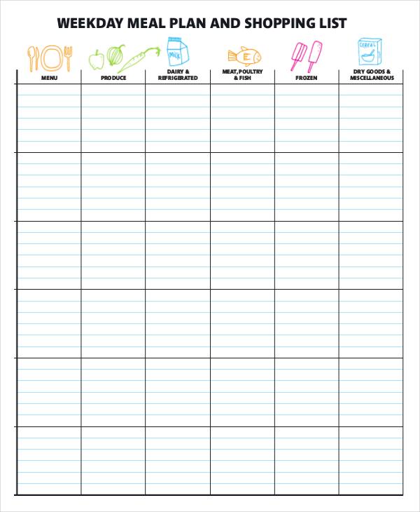 printable meal plan template