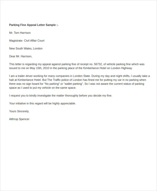 sample letter to contest parking ticket radiovkm.tk