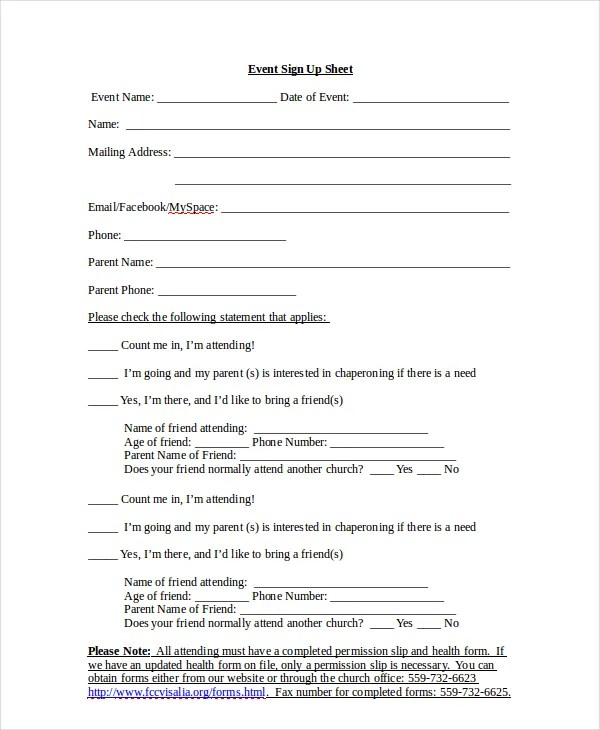 Sign Up Sheet - 16+ Free PDF, Word Documents Download   Free ...