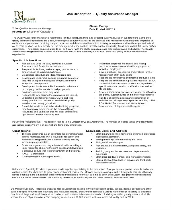 10 Quality Assurance Job Description Templates PDF DOC