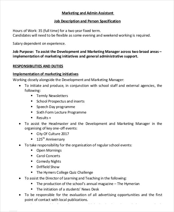 10 Marketing Assistant Job Description Templates PDF