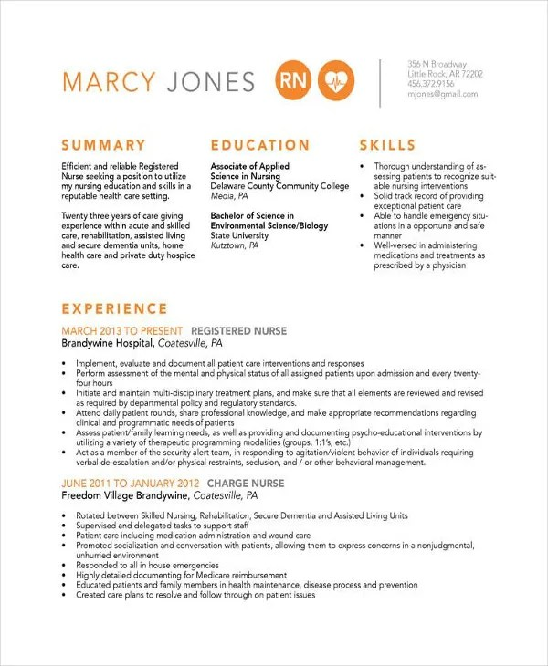 16 Nurse Resume Templates Free Word PDF Documents