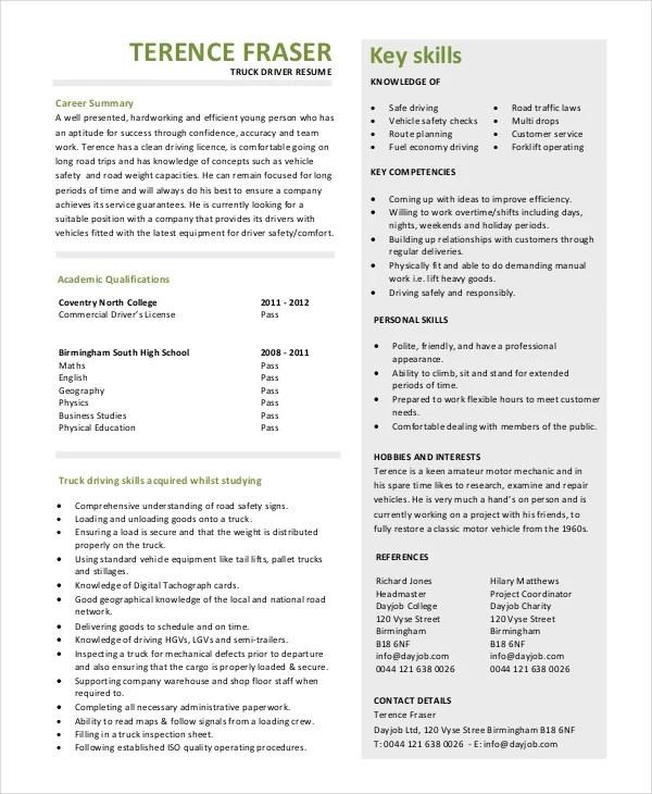 7 Truck Driver Resume Templates PDF DOC Free