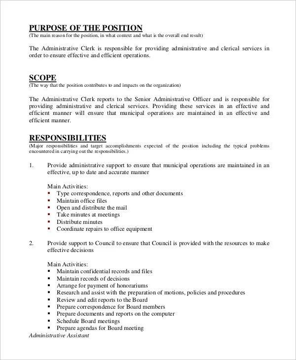 administrative assistant sample job description