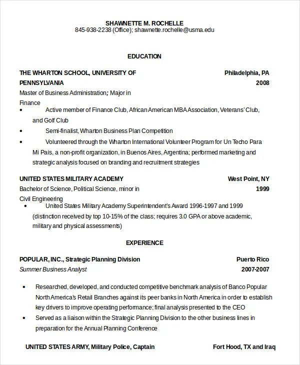 resume template for military to civilian