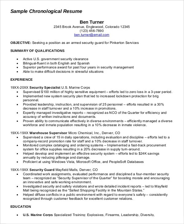 Military Resume 8 Free Word PDF Documents Download