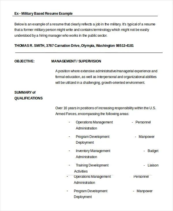 resume format for ex army