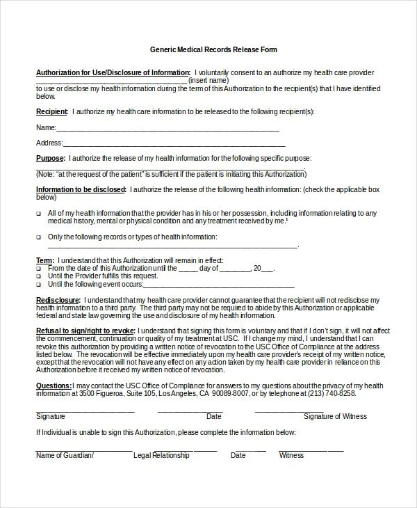 generic medical records release form template