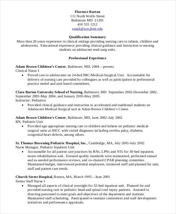 Nursing Student Resume Example 9 Free Word PDF Documents
