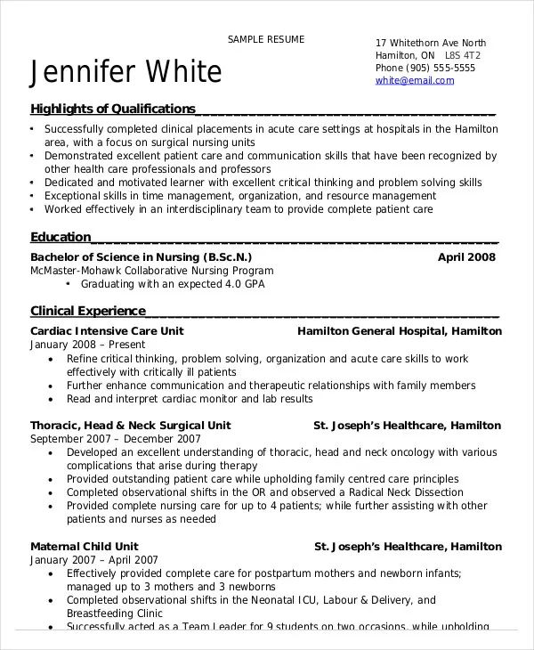 example of a nursing resumes