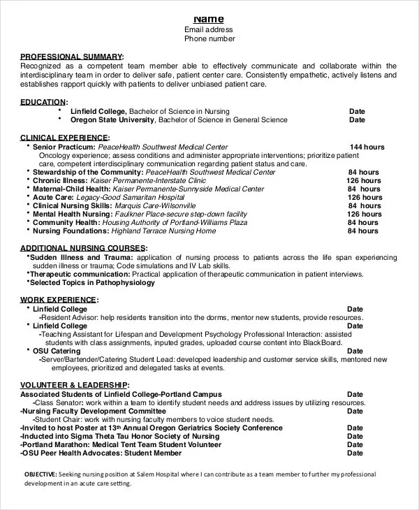 Nursing Student Resume Example 10 Free Word PDF