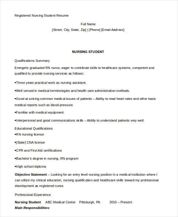 Nursing Student Resume Example - 10+ Free Word, PDF Documents ...