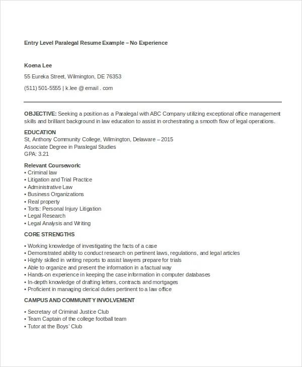 9 Paralegal Resumes Free Sample Example Format Free