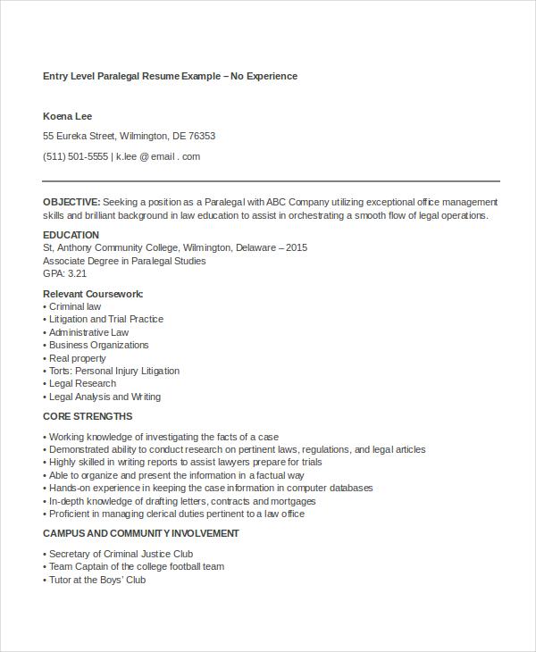 9 Paralegal Resume Templates PDF DOC Free Premium
