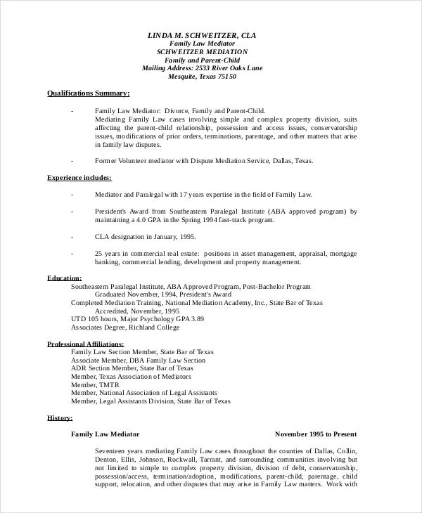 family law paralegal resumes
