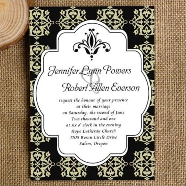 Black And White Wedding Invitation Template
