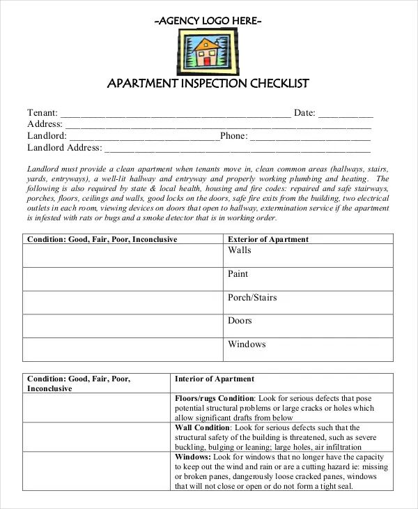 apartment maintenance checklist template
