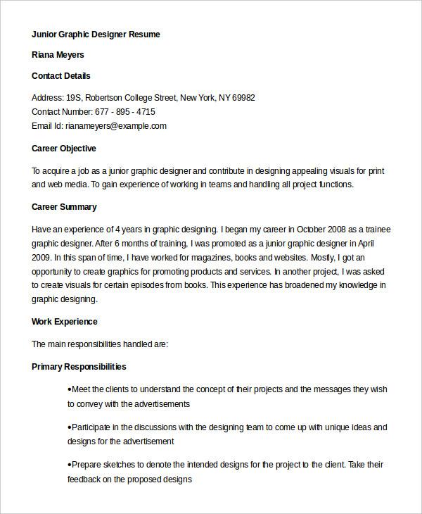 Graphic Designer Resume 5 Free Sample Example Format Free