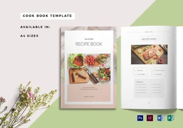 recipe book cover template free