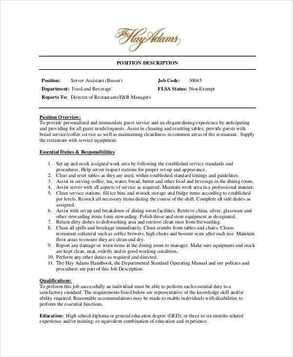 Busser Job Description Example 9 Free PDF Documents