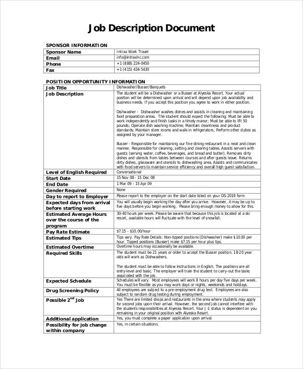 Busser Job Description Example  11 Free PDF Documents Download  Free  Premium Templates