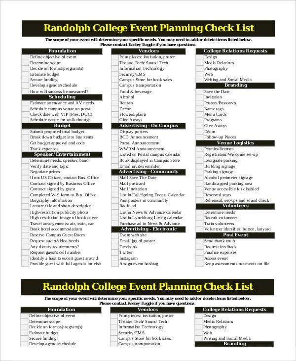event management checklist sample