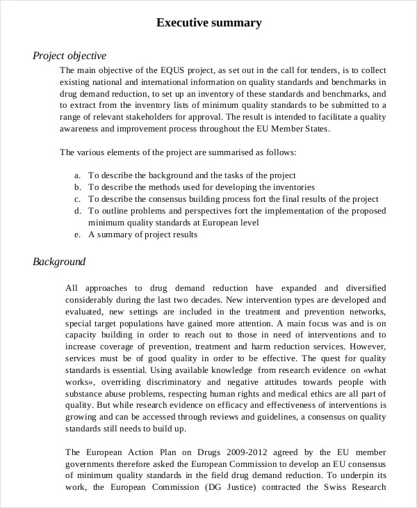 Executive Summary Template For Report Hospi Noiseworks Co
