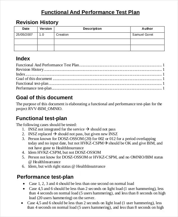 Test Plan Template  11+ Free Word, Pdf Documents Download