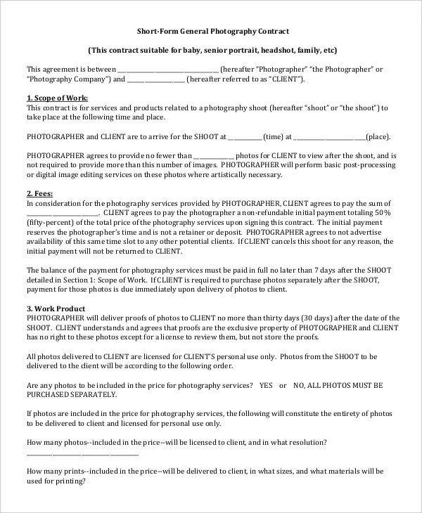 Photography Contract Example 11 Free Word PDF Documents