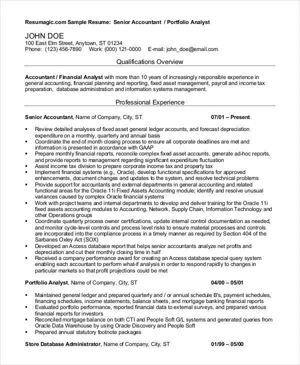 free accountant resume template