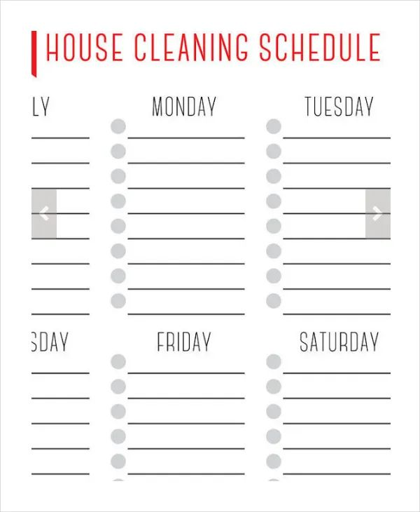 house cleaning schedule daily weekly monthly