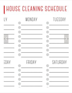 Weekly house cleaning schedule template checklist chart printable also juve cenitdelacabrera rh