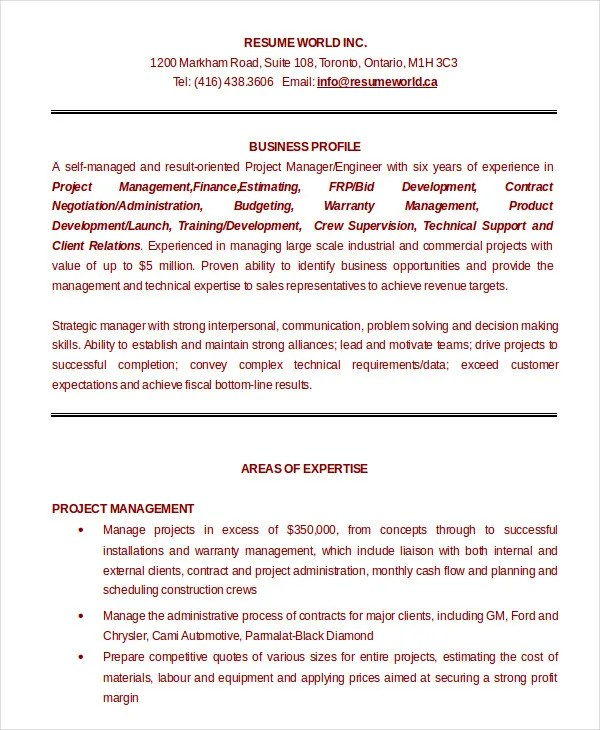 Project Management Resume Example 10 Free Word PDF