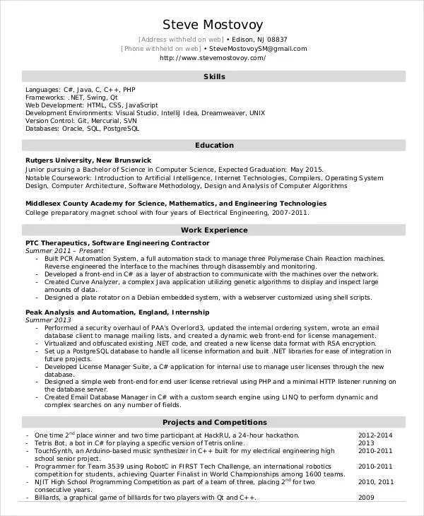 Software Engineer Resume Example 9 Free Word PDF Documents