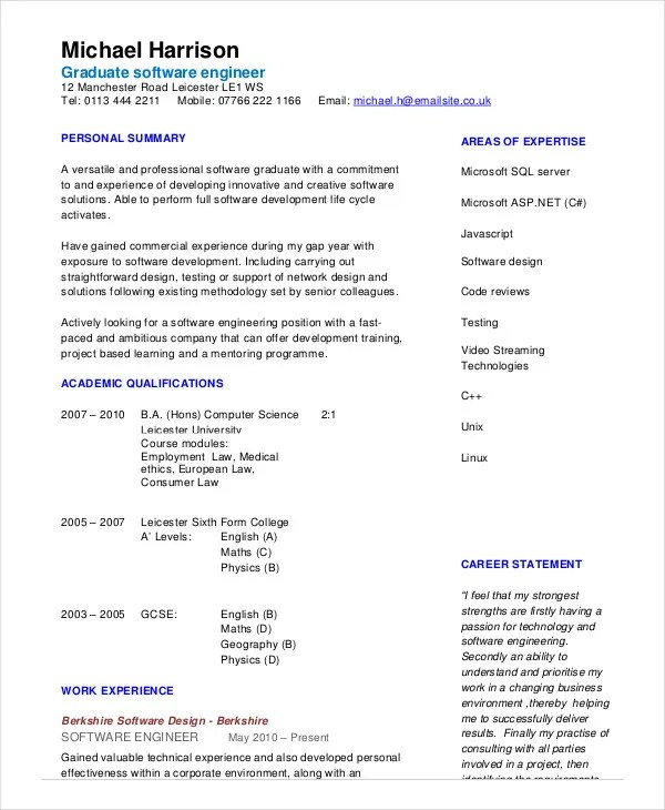 software engineer resume sample pdf