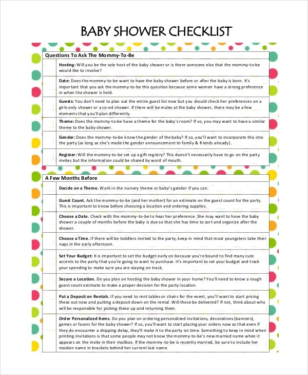 Baby Shower To Do List Template : shower, template, Shower, Planning, Documents, Download, Premium, Templates