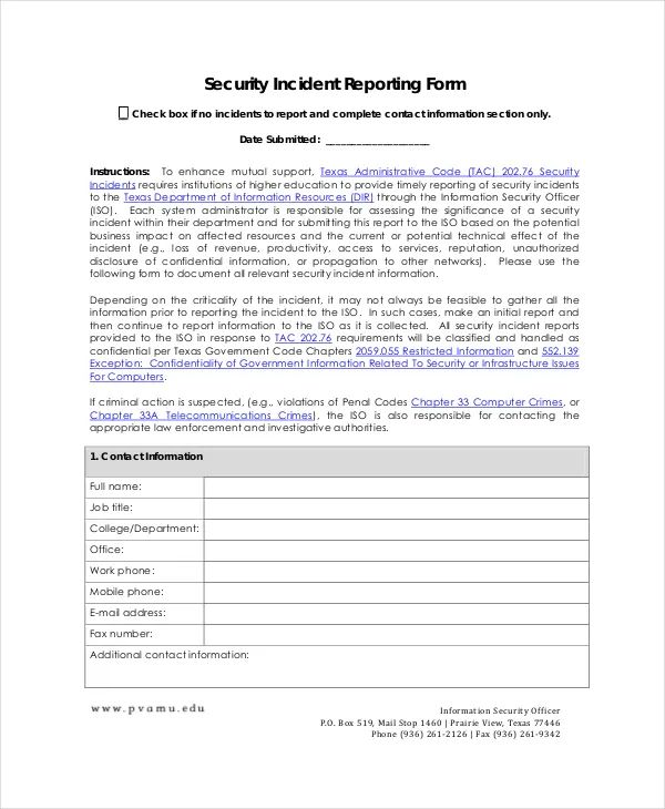 sample of a security incident report