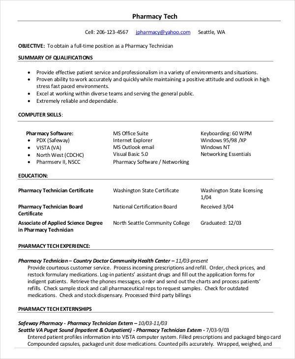 sample resume certified pharmacy technician