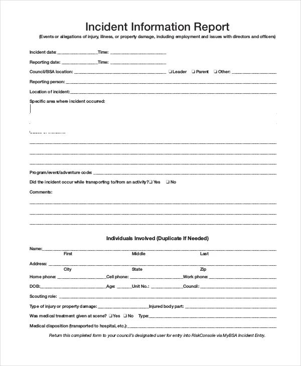 incident report forms templates
